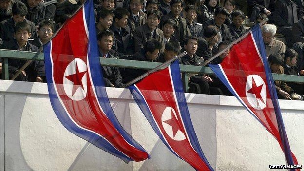 Spectators at a football match in North Korea