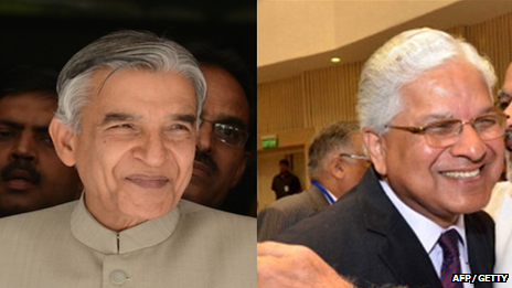Former Indian Railway Minister Pawan Kumar Bansal and former  Law Minister Ashwani Kumar