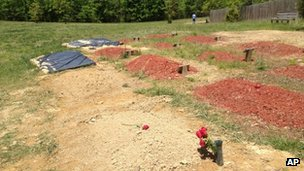 The alleged burial site of Tamerlan Tsarnaev in Doswell, Virginia 10 May 2013