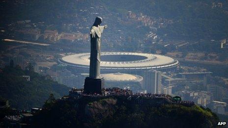 Christ the Redeemer statue and the Maracana stadium