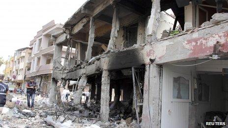 Shattered buildings in Reyhanli, Turkey, 11 May
