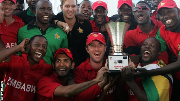 Zimbabwe with the one-day series trophy