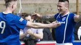 Peterhead striker David Cox (right) scored twice in the first 10 minutes