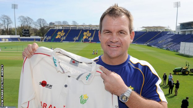 Glamorgan coach Matthew Mott at the Swalec Stadium.