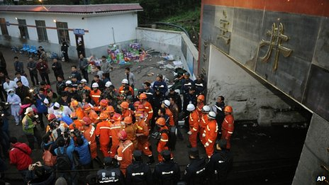 Rescue teams at the coal mine in Luzhou, Sichuan province. 11 May 2013