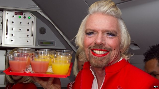 Richard Branson dressed as a woman