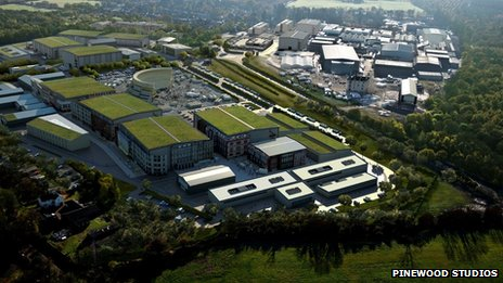 Aerial view of Pinewood Studios
