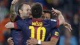 Barcelona celebrate scoring in a recent league game