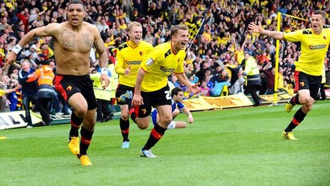 Watford striker Troy Deeney (left) celebrates after his late goal against Leicester