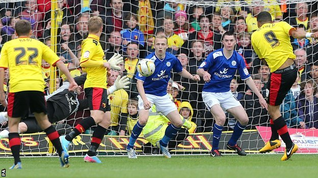 Watford striker Troy Deeney (left) scores a late goal against Leicester