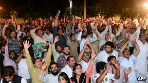 PML-N supporters celebrate victory in Lahore