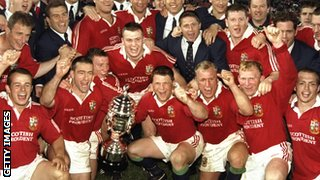 The Lions celebrate their series victory in South Africa in 1997