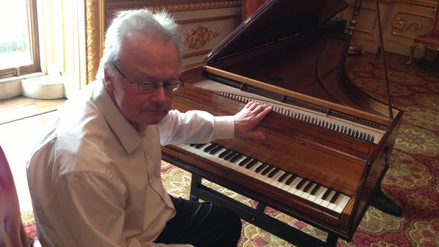 Pianist and composer Professor David Owen Norris with the oldest-surviving grand piano in Britain