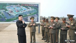 File photo: Kim Jong-un (left) visiting a construction site of the North Korean army