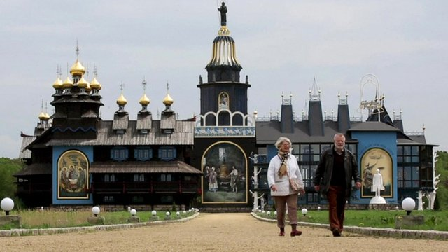 Visitors at the Bells Palace in Germany