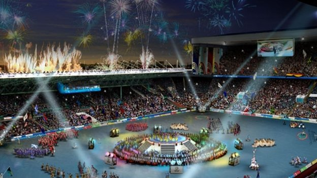 Impression of the opening ceremony at Celtic Park