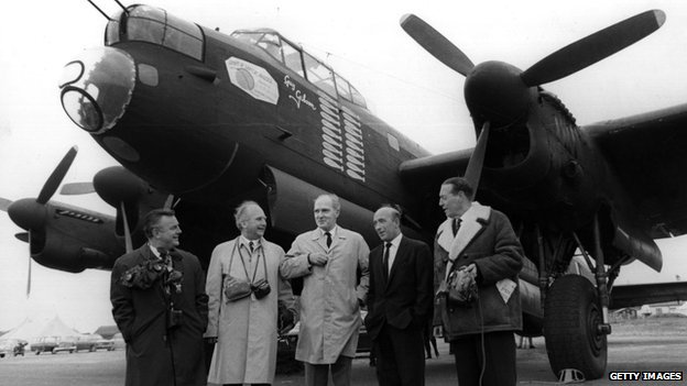 19th May 1967: Members of the original Dam Busters crew stand in front of a Lancaster bomber like the ones they flew during WWII
