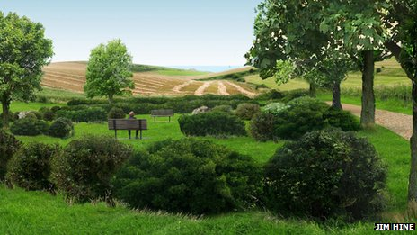 Artist's impression of woodland burial site