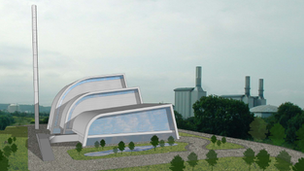 Artist's drawing of the Severnside Energy Recovery Centre