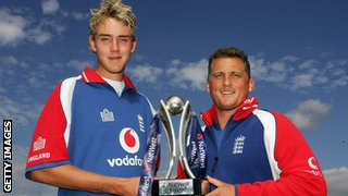 Broad stands alongside Darren Gough before his England debut in 2006
