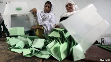 Ballots being counted in Pakistan
