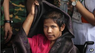 Reshma, last survivor pulled from the rubble of the Rana Plaza complex taken on 13 May