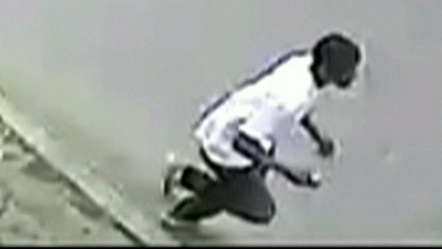 CCTV image showing a man running away from scene in New Orleans