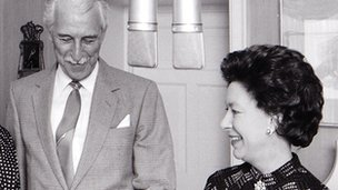 Arnold Peters and Princess Margaret in The Archers in 1984