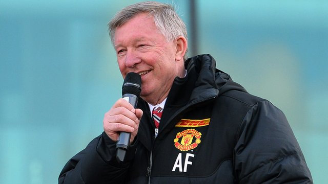 Sir Alex Ferguson addresses the crowds at Old Trafford
