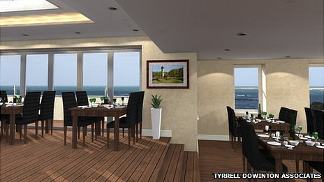 Artist's impression of first floor restaurant at Rockmount, Guernsey