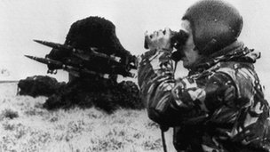 British soldier during the Falklands War