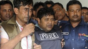 Mohammad Sohel Rana, the owner of the Rana Plaza building, is escorted to court by police