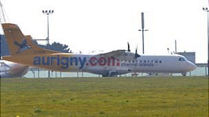 Aurigny plane at Guernsey Airport