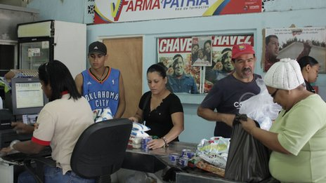 Shoppers at a Mercal supermarket
