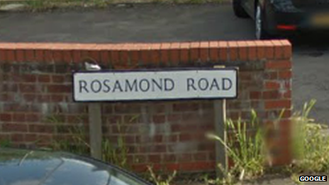 Rosamond Road sign, Bedford