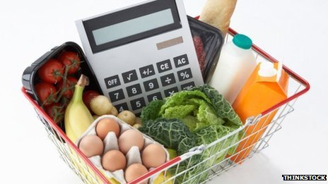 Basket of goods with a calculator in