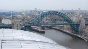 Tyne Bridge from highest point of the Sage