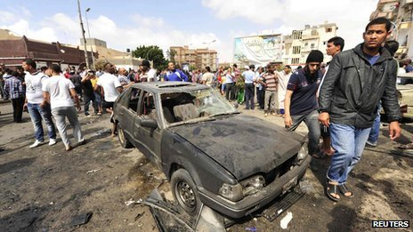 Crowds gather at the scene of the blast in Benghazi. Photo: 13 May 2013