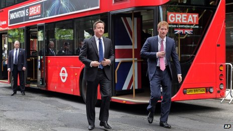 Prince Harry and David Cameron arrive at Milk Studios aboard a double-decker bus in New York