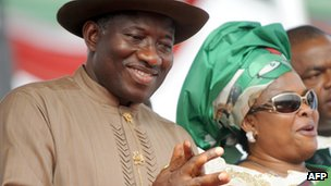 Nigerian President Goodluck Jonathan and wife Patience at a rally in  Abuja on 26 March 2011