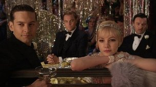 Tobey Maguire, Leonardo DiCaprio, Carey Mulligan and Joel Edgerton in The Great Gatsby