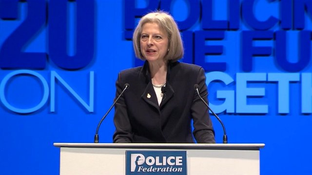 Home Secretary Theresa May at the Police Federation conference in Bournemouth