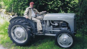Bob Dickman on his tractor