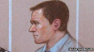 Artist's impression of Mark Bridger