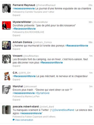 A random sample of French Recession Movie tweets, 15 May