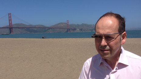Rory Cellan-Jones wearing Google glasses in front of the Golden Gate bridge