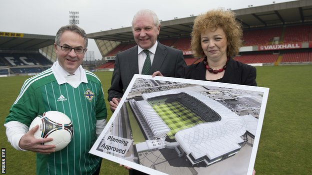 Environment Alex Attwood along with IFA President, Jim Shaw and Sports Minister Carál ní Chuilín at Windsor Park