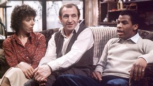 Frances de la Tour, Leonard Rossiter and Don Warrington in the original Rising Damp