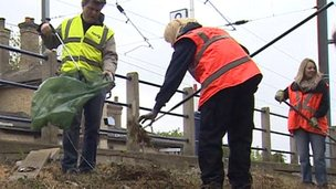 Clear-up work at Shepreth Station where poppies are being planted