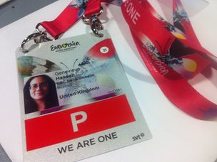 Genevieve Hassan's official Eurovision pass